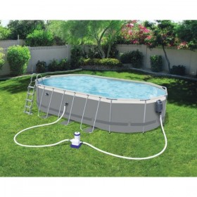 BESTWAY 56940 Kit Piscine Ovale Power Steel GREY 610 cm x 366 cm x 122 cm_01