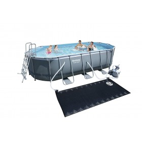 BESTWAY 14259  Kit Piscine Ovale Power Steel Frame Pools L 549cm l 274cm h 122cm avec réchauffeur solaire