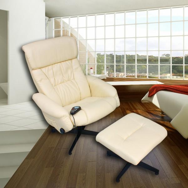 """ECO-DE ECO-739B  Chaise de massage avec pouf  """"VENICE"""" Beige"""